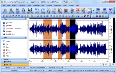 AV Audio Editor 400x253 Tweak And Convert Music Files Of Yours With AV Audio Editor