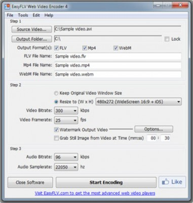 EasyFLV Web Video Encoder 381x400 Create Internet Video In A Simple Way With Easyflv Web Video Encoder