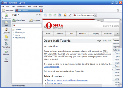 operamail 400x287 Opera Mail Goes It Alone Saying Good Bye To Its Browser