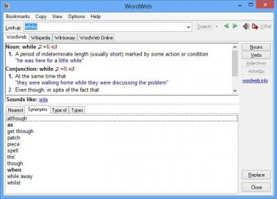 wordweb 400x287 Universal Dictionary, Spell Checker And A Thesaurus Offered By Wordweb 7.0