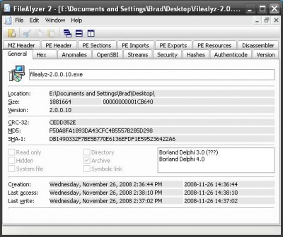 FileAlyzer 400x336 Analyze Your Files With FileAlyzer