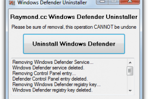 Windows Defender Uninstaller