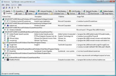 Microsoft SysInternals Autoruns