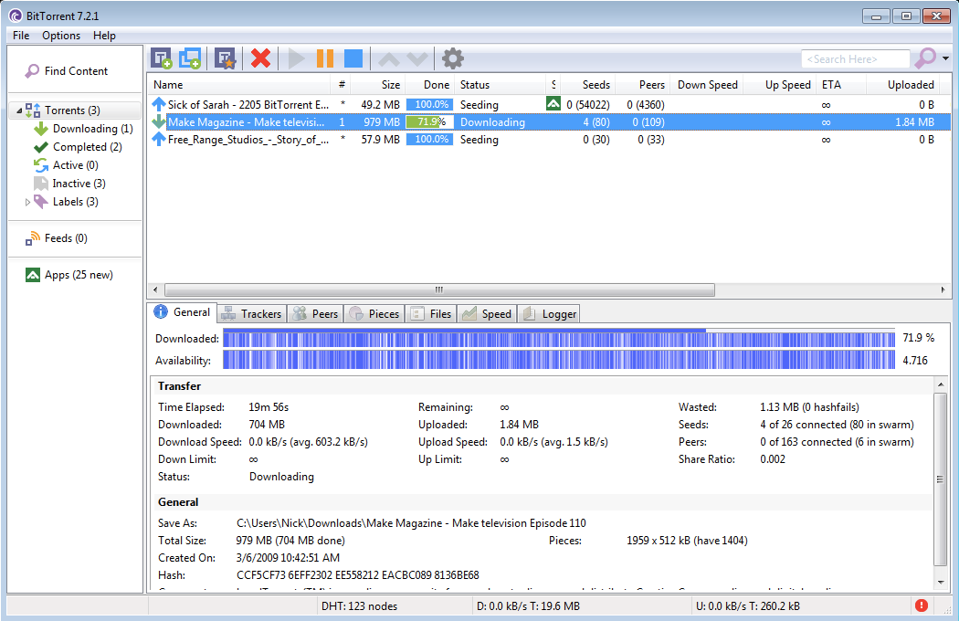 BitTorrent screenshot