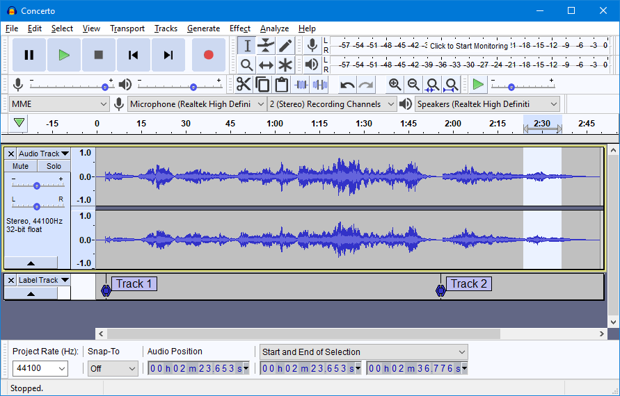 Audacity for Windows full screenshot