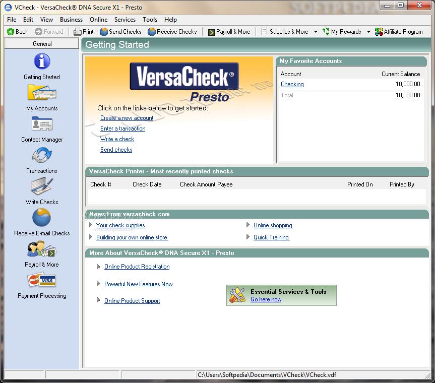 VersaCheck Presto full screenshot