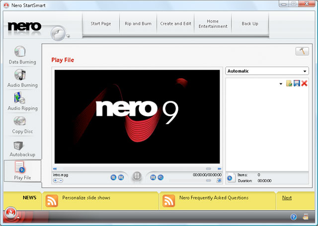 Nero 9 Free freeware screenshot